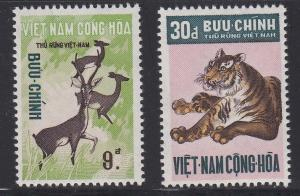 Viet Nam (South) # 396-397, Deer & Tiger, NH, 1/2 Cat.