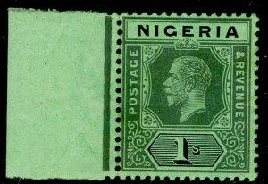 NIGERIA SG8f, 1s black/blue-green, NH MINT. WMK MULT CA