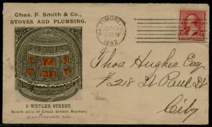 CHAS F. SMITH & Co. STOVES & PLUMBING 1892 W/ #220 ON VF ADVT COVER BQ2569