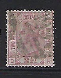 GREAT BRITAIN SCOTT #67 (PLATE 16) 1875 2 1/2 (CLARET) ) - WMK 29 - USED