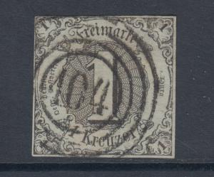 Thurn & Taxis Sc 42 used 1852 1kr black imperf Numeral, 104 in target cancel, VF