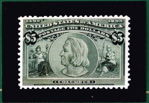 US STAMP # US stamp # 245 $5 1893 Columbian Issue PICTURE POST CARD 1992 EXPO