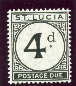St Lucia 1947 KGVI Postage Due 4d black superb MNH. SG D5. Sc J5.