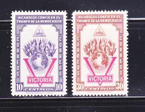 Nicaragua 689-690 MH Victory, Flags, Globe (B)
