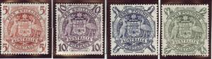 Australia Scott 218-221 MH* 1949-1950 Arms set