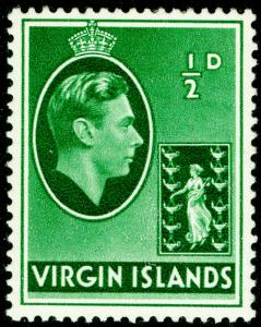 BRITISH VIRGIN ISLANDS SG110, ½d green, LH MINT.