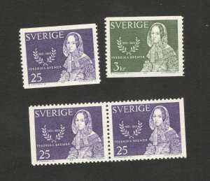 SWEDEN-2 MNH STAMPS+PAIR-FREDERIKA BREMER-1965.