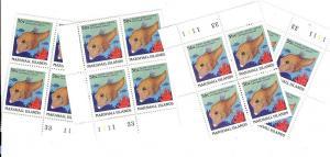 Marshall Islands, 180, Fish Matched Plate Blocks (4), MNH