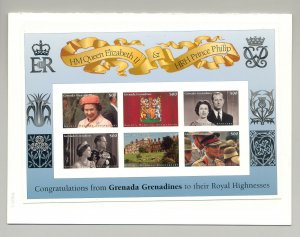 Grenada (Grenadines) 1997 Queen Golden Wedding M/S of 6 & 1 S/S Chromalin Proofs