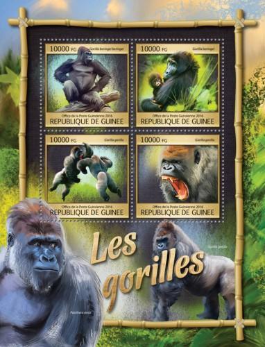 Guinea MNH S/S Gorillas Primates 2016
