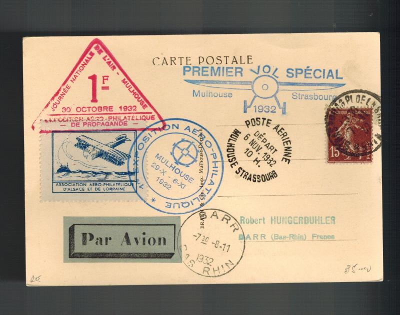 1932 Mulhouse France postcard cover Local Issue Aviation Exposition Strassbourg