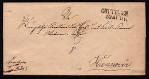 $German Stampless Cover, Gottingen-Hannover (~1839) red arrival date