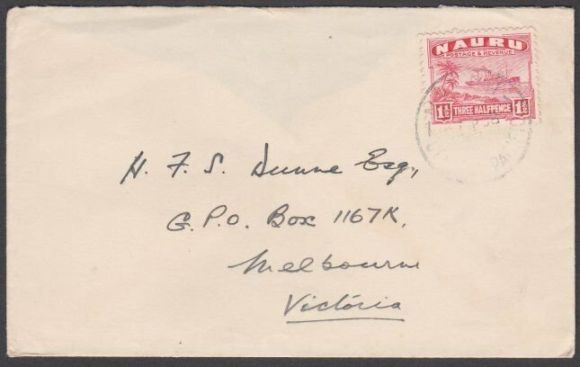 NAURU 1938 commercial cover to Australia with 1½d freighter.................N132