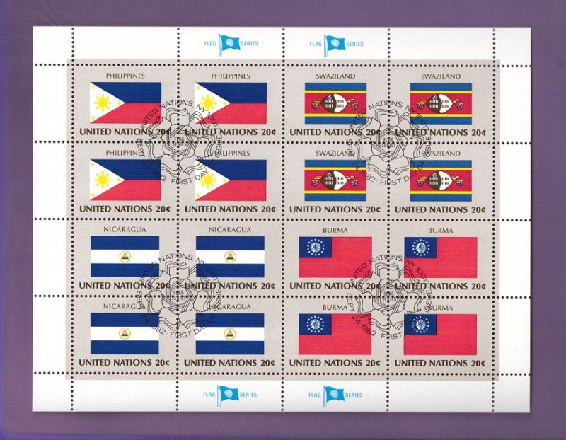 United Nations New York #385a  cancelled 1982 sheet flags Philippines Swaziland