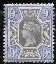 GB 120 9p blue/lilac VF  LH