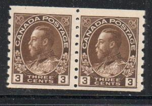 Canada Sc 129 1918 3 c brown G V Admiral coil stamp pair mint