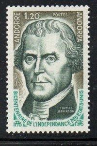 Andorra (Fr) Sc 248 1976 American Bicentennial Jefferson stamp  mint NH