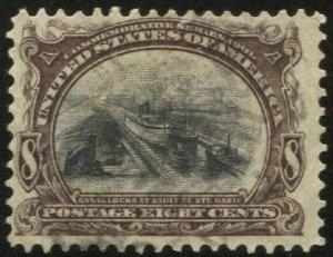 US 1901 Sc 298  Used, F-VF, 8c Canal Locks, Pan-American Expo single