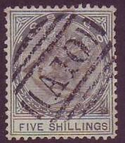 Tobago SC# 5 Queen Victoria, 5 Shillings, Cancelled