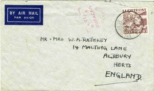 1941 Aruba to the UK airmail cover censored at Curacao