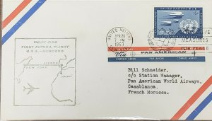 Pan Am 1963 United Nations New York To Rabat Morocco