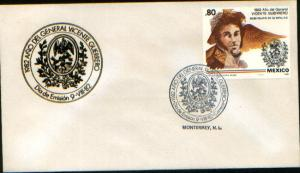 MEXICO 1283, CACHETED FDC. Bicentennial Birth of Gen Vicente Guerrero. F-VF.