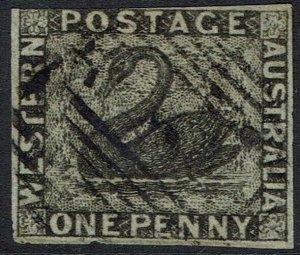 WESTERN AUSTRALIA 1854 SWAN 1D IMPERF USED