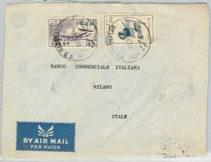 56382 -  LEBANON  Liban -  POSTAL HISTORY: AIRMAIL COVER to ITALY  1959 Flags