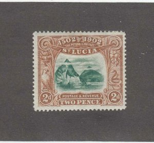 ST LUCIA # 49 VF-MH 2d THE PITONS CAT VALUE $14