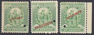 PERU 1899 1c UPU mint - 3 different types SPECIMEN overprint................7929
