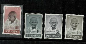 INDIA SG 305/308 1948 INDEPENDENCE ANNIV GANDHI  MTD MINT