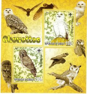 Djibouti 2007 Owls-Birds  Sheetlet No.1 perf.MNH VF
