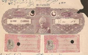 Princely State - BAHAWALPUR 2 As Type10 Stamp Paper+1ReX2 Court Fee India Fis...