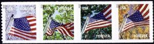 2013 46c Forever Flags for All Seasons, Strip of 4 Scott 4774-77 Mint F/VF NH