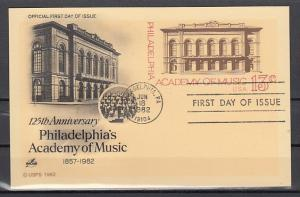 United States, 1982 issue. Academy of Music Postal Card with First day cancel.
