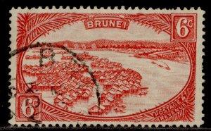 BRUNEI GV SG70, 6c scarlet, USED.