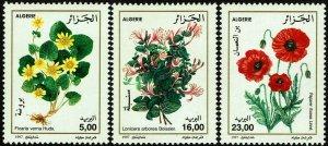 Algeria #1088-90  MNH - Flowers Poppy Honeysuckle Celandine (1997)