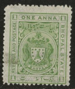 India - Bhopal Feudatory state  Scott o1 Official Used