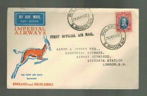 1932 Bulawayo Rhodesia First Flight Cover FFC to London England Imperial Airways