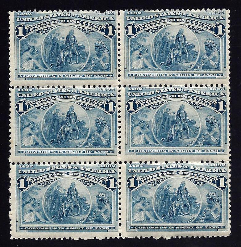 230 Mint,OG,NH... Block of 6... SCV $210.00