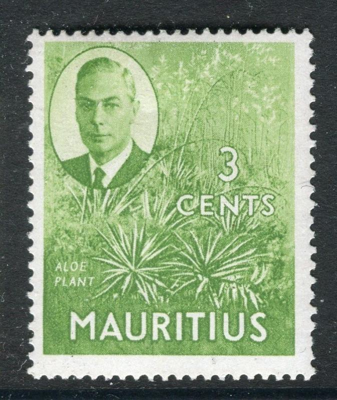 MAURITIUS;  1950 early GVI issue fine Mint hinged 3c. value