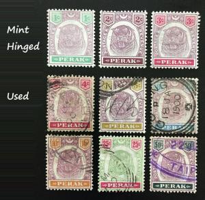 Malaya Perak 1895-99 1c -50c 9V part set Mint & Used SG66-74 M2262