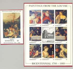 Dominica #1542-43 Paintings from the Louvre 1v M/S of 8 & 1v S/S Imperf Proofs