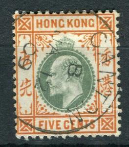 HONG KONG; Canton Treaty Port Cancel on Ed VII 5c. value,