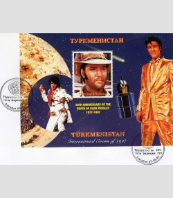 TURKMENISTAN 1997 SPACE Halley's Comet Elvis Presley s/s Perforated in FDC