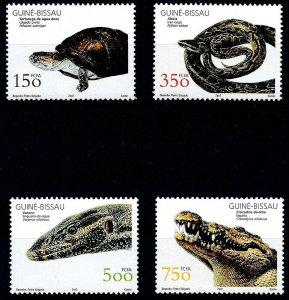 GUINEA-BISSAU - 2002 - TURTLE - LIZARD - CROCODILE - PYTHON - REPTILE - MNH SET!