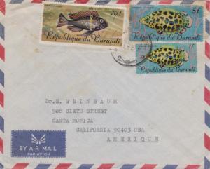 Ruanda Urundi Burundi 20F, 5F and 1F Tropical Fish 1968 Airmail to Santa Moni...