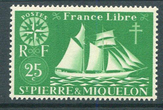 St Pierre & Miquelon 302 Mint NH 1942 25c Fishing Schooner. NO per item S/H