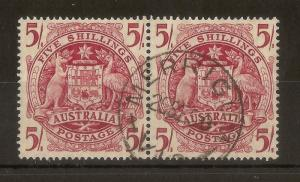Australia 1949 Arms 5/- Pair SG224a Fine Used