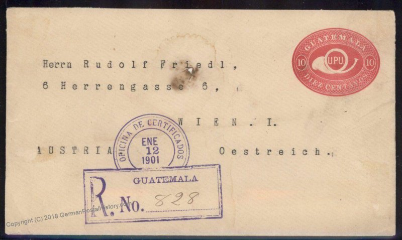 Guatemala 1901 Vienna Austria Registered Cover 92804